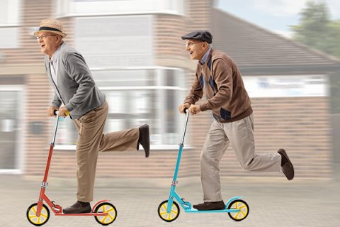 IMAGE - Elderly men on scooters