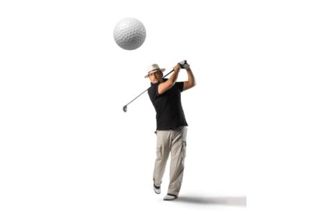 Golfer taking a shot