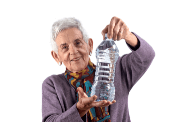 Older women with drinking water for hydration