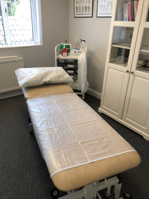 Shefford Osteopathic Clinic treatment room with COVID-19 safety precautions